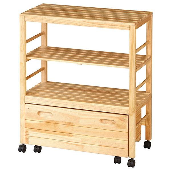 ウッドラック3段 幅70cm 高さ75cm キッチン収納 収納棚 木製ラック キッチンラック - エイムキューブ画像3
