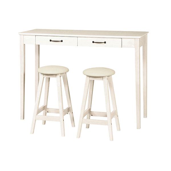 カウンターテーブル 幅120cm 椅子2脚 食卓セット 引出収納2杯 ハイテーブル チェアセット - エイムキューブ画像2