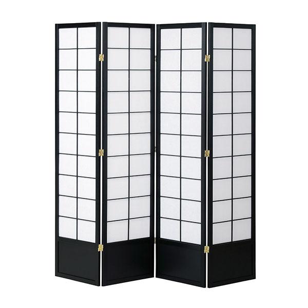 折りたたみ式スクリーン 和室 高さ180cm 天然木製 ブラック ナチュラル - aimcube画像2