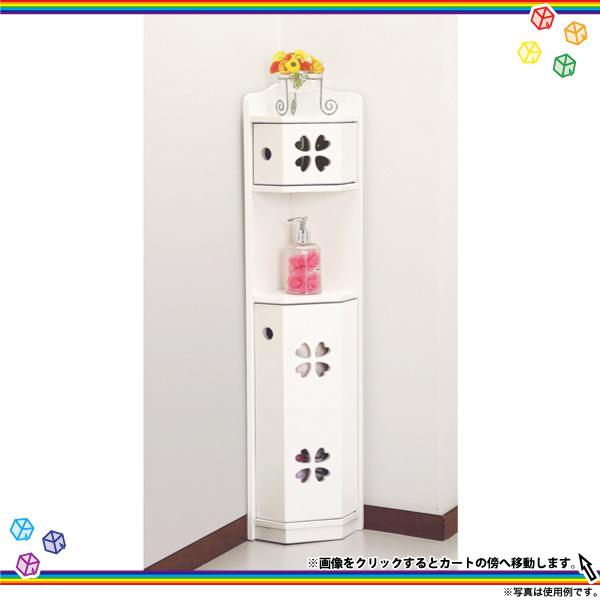 トイレコーナーラック 四葉クローバー柄 高さ90cm 洗剤収納ラック トイレラック 収納ラック - エイムキューブ画像1