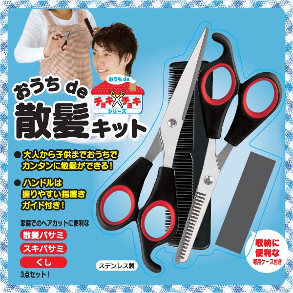 散髪 ハサミ スキバサミ くし 3点セット 髪 カットバサミ 散髪用 はさみ スキハサミ - エイムキューブ画像1