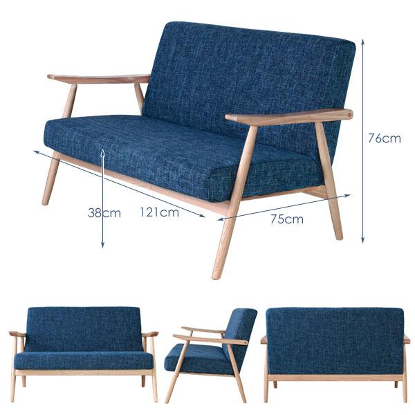 ソファ2人掛 アームチェア ルームチェア 天然木フレーム ラウンジソファ リビングチェア 椅子 - aimcube画像4