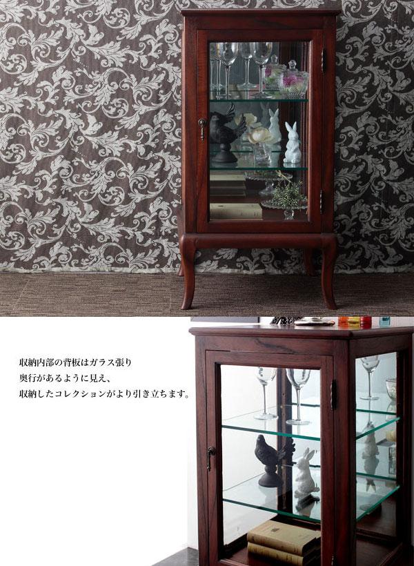 キャビネット 飾り棚 収納家具 背面ミラー ネコ脚デザイン 英国テイスト アンティーク家具 - aimcube画像2