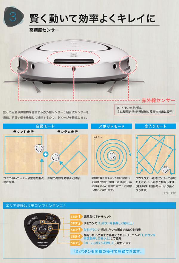 ロボット掃除機 パナソニック Panasonic ロボット そうじ RULO - エイムキューブ画像3