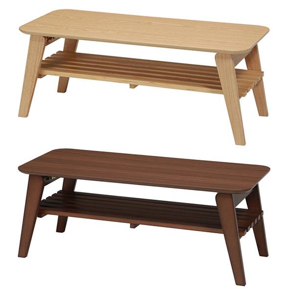 棚付 センターテーブル 幅90cm 折脚 テーブル 座卓 ローテーブル 北欧風 一人暮らし用テーブル - エイムキューブ画像3