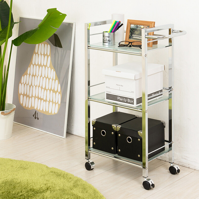 美容室ワゴン 収納ワゴン 5mm厚強化ガラス 強化ガラスワゴン 台所ワゴン - aimcube画像2