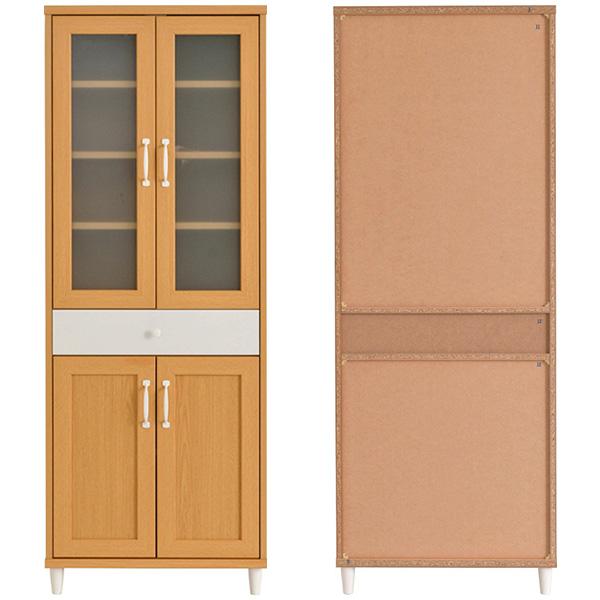 木目調 食器棚 幅60cm 高さ160cm カップボード 収納ラック ホワイト - エイムキューブ画像3