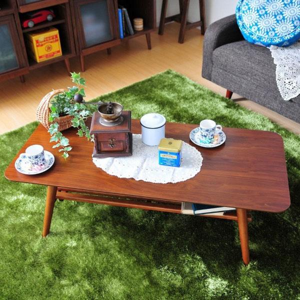折り畳み 棚付センターテーブル 幅110cm テーブル 食卓 カフェテーブル モダン レトロ - エイムキューブ画像1