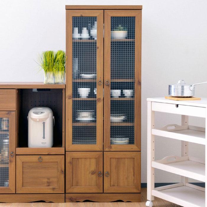 レトロ調 キッチンボード 食器棚 台所収納 クロスガラス仕様 - aimcube画像1
