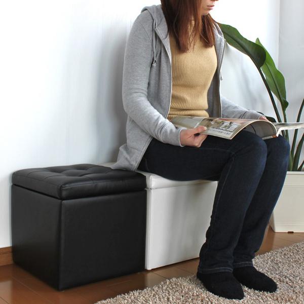 収納スツール 1P オットマン 玄関 椅子 PVC仕様 エントランス スツール - aimcube画像2