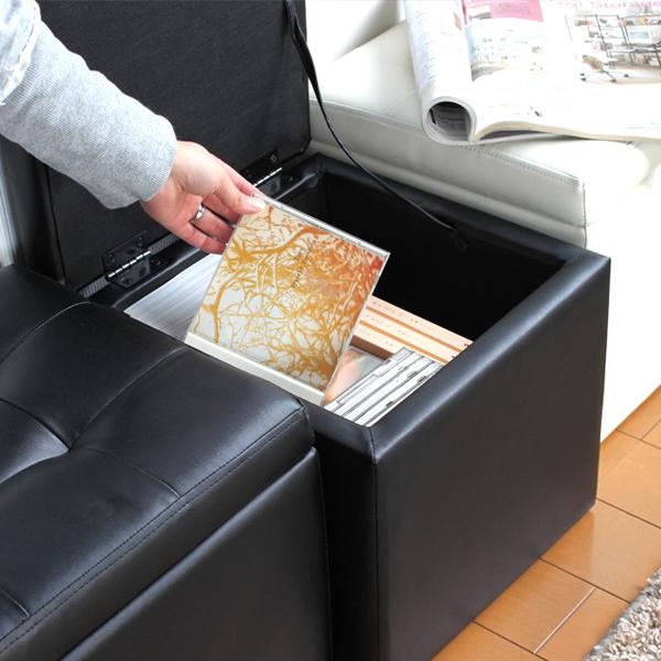 キューブスツール 収納付 1人用 椅子 玄関チェア 完成品 一人用チェア リビングスツール  - エイムキューブ画像3