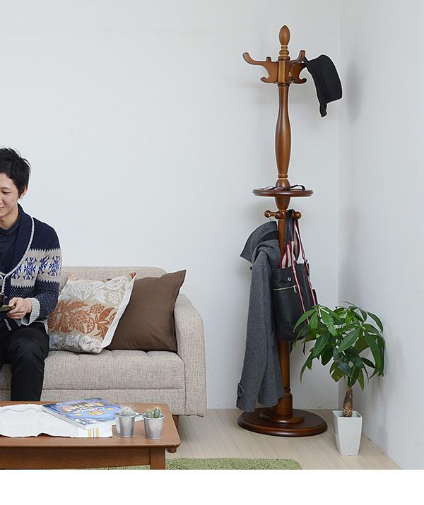 ポールハンガー 木製 小物置き トレー付 玄関ハンガー コートハンガー ストール マフラー掛け 傘掛け - エイムキューブ画像3