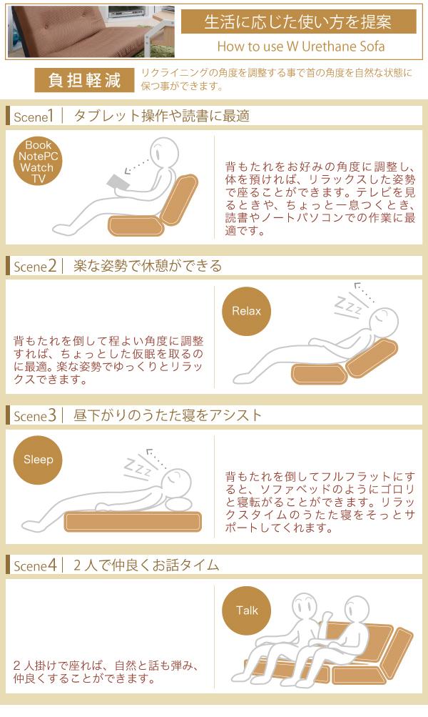 日本製 リクライニングソファ ラブソファ 7段階リクライニング クッションソファ 座イス - エイムキューブ画像5