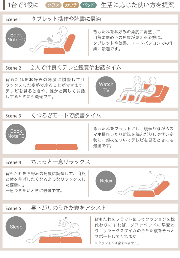 2人用 リクライニングソファー リビング チェア 簡易ベッド 撥水加工 ふかふか テレビチェア - aimcube画像4