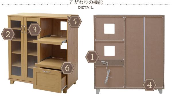 キッチンラック キッチンキャビネット 幅105cm コンセント口 2つ搭載 キッチン収納 コーヒーメーカー 収納 - エイムキューブ画像5
