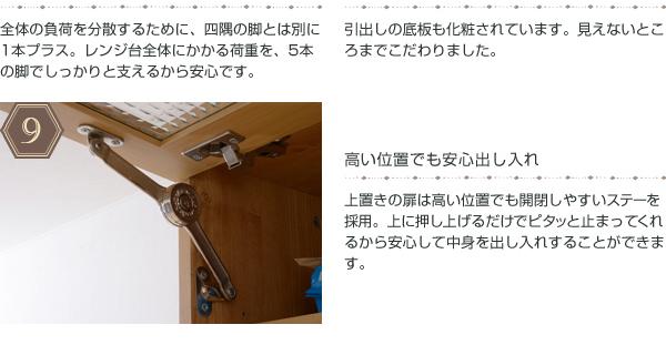 電子レンジ台 幅90cm 上置き棚セット レンジボード 食器棚 カップボード 収納庫 壁面収納 - エイムキューブ画像9