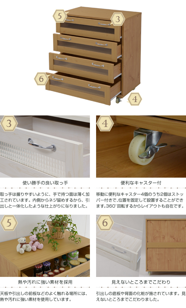 カウンター収納 チェスト 引出し収納4杯 背面化粧仕上げ 食器棚 間仕切り 調味料 収納 - エイムキューブ画像3