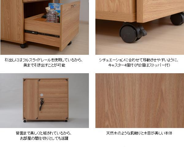 北欧風 キッチンカウンター 幅90cm 背面化粧仕上げ 食品 収納 作業台 炊飯器 トースター 収納 - エイムキューブ画像5