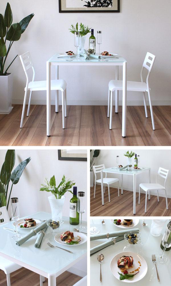 食卓テーブル 幅75cm ダイニングチェア 二人用 3点セット 軽量設計 スタイリッシュデザイン - aimcube画像2