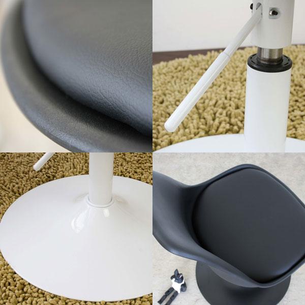 合成皮革 カフェチェア 座面回転チェア バーチェア 昇降チェア オフィスチェア - エイムキューブ画像5