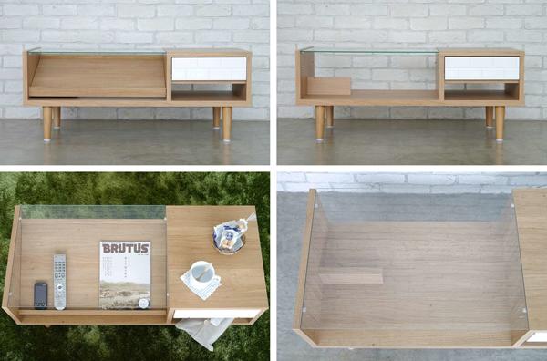 ガラス天板 テーブル 引出し収納付 ディスプレイテーブル 雑誌 収納 テーブル - エイムキューブ画像3
