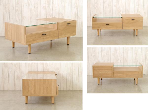 センターテーブル リビングテーブル 小物入れ付 リモコン 収納 テーブル 幅90cm - aimcube画像2