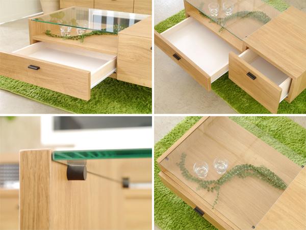 ガラス天板 テーブル 引出し収納2杯付 ディスプレイテーブル 雑誌 収納 テーブル - エイムキューブ画像3