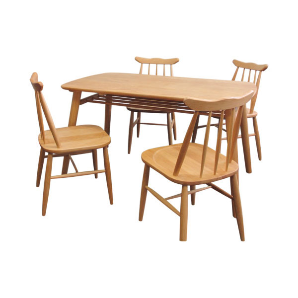 食卓テーブル 幅130cm ダイニングチェア 四人用 5点セット アルダー無垢材 ナチュラルテイスト - aimcube画像2