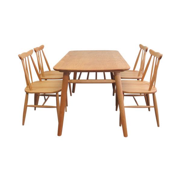 天然木 ダイニングセット 4人用 ダイニングテーブル 椅子4脚  チェア完成品 カントリー調 - エイムキューブ画像3