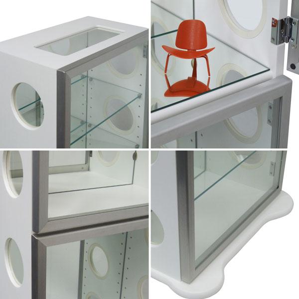 キャビネット 飾り棚 収納家具 ☆ 背面ミラー仕様 コレクションボックス 2色展開 - aimcube画像2