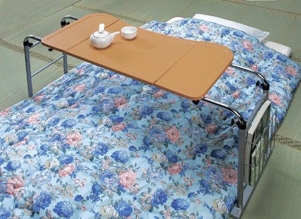 ベッドテーブル 天板4段階調整  補助テーブル 介護机 介護用テーブル マガジンラック付  - エイムキューブ画像1