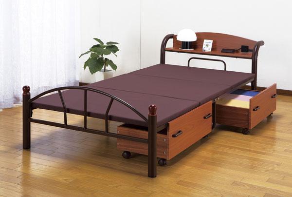 宮棚付パイプベッド 1人用 シングルベッド 簡易ベッド 棚付きスチールパイプベッド - エイムキューブ画像3