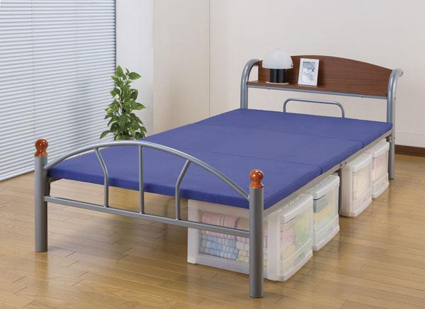 ミドルハイベッド 一人用 スチールベッド 小物置き付 簡易ベッド - aimcube画像2