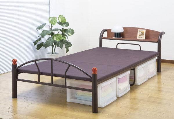 ミドルハイベッド 一人用 スチールベッド 小物置き付 簡易ベッド - aimcube画像4