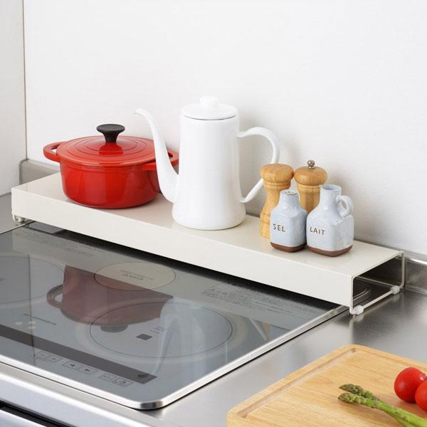 コンロ奥カバーラック キッチン 台所 収納用品 排気口カバー グリル 排気口 油ハネ 幅66cm - エイムキューブ画像1