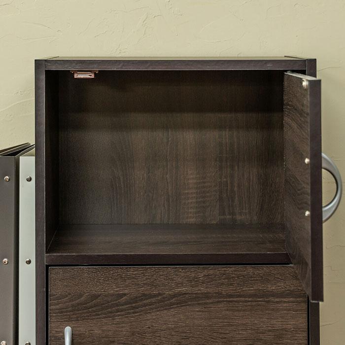 扉付 カラーボックス3段 42cm幅 収納棚 マルチラック - エイムキューブ画像3