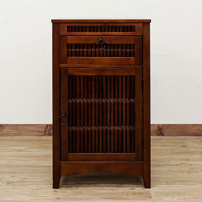 食器棚 キッチン 収納 棚 電話台 FAX台 エスニック 可動棚付 - aimcube画像2