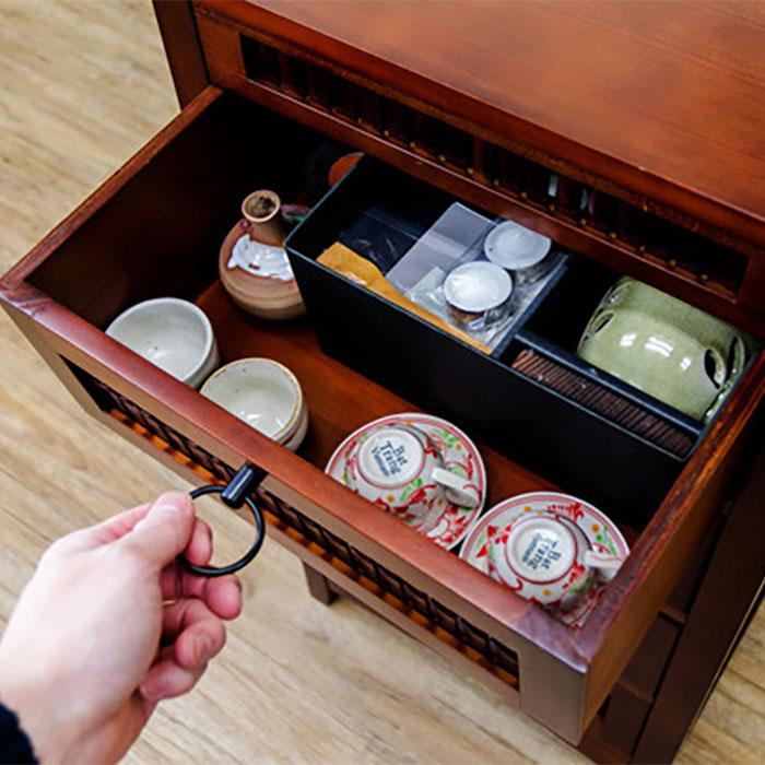 食器棚 キッチン 収納 棚 電話台 FAX台 エスニック 可動棚付 - aimcube画像4