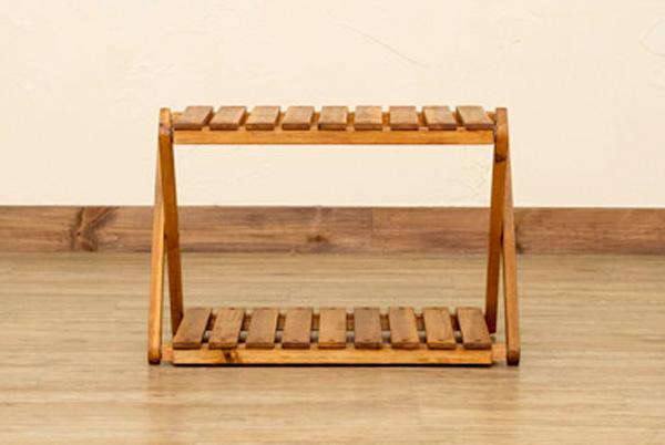 ガーデンラック ベランダ お庭 ラック サイドテーブル 完成品 アカシア素材 折りたたみ - aimcube画像4