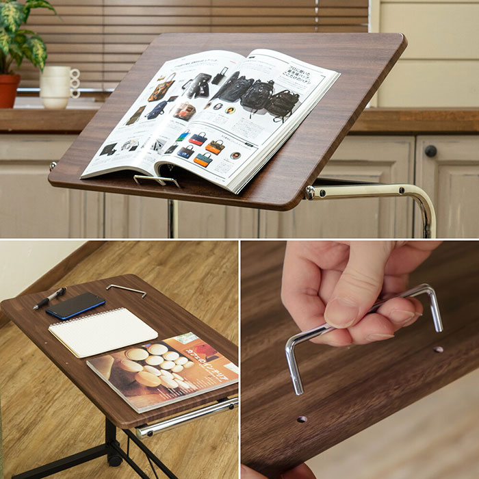 介護用テーブル 簡易テーブル 角度調節 補助台 キャスター付 - aimcube画像2