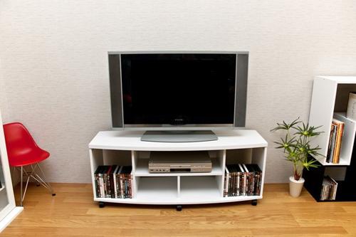 棚付き テレビ台 120cm幅 ロータイプ 薄型テレビ用 収納ラック - エイムキューブ画像1