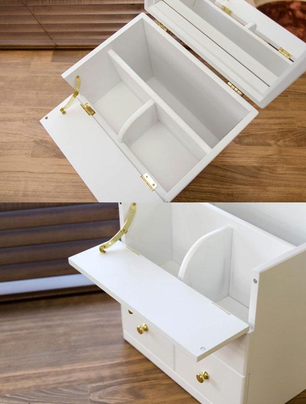 コスメボックス ミラー付き 木製 メイクボックス 完成品 コスメボックス - エイムキューブ画像3
