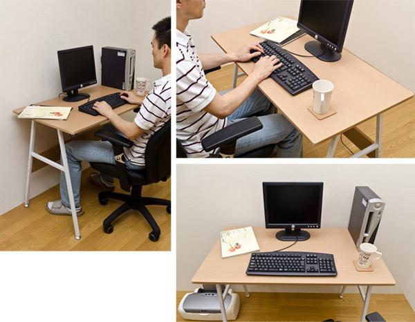 シンプルデスク 机 パソコンデスク 天板耐荷重 約10kg 多目的デスク ガタつき防止アジャスター付 - aimcube画像2