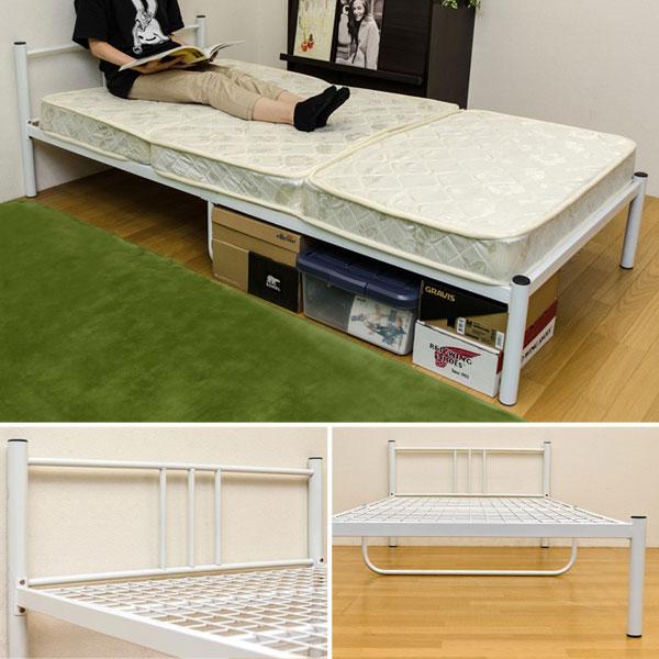 一人用 スチールベッド 床板メッシュ仕様 簡易ベッド 2色展開 - aimcube画像2