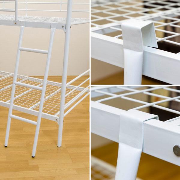 2段ベッド パイプベッド 簡易ベッド 子供部屋 ハシゴ付 スチールパイプベッド - エイムキューブ画像3