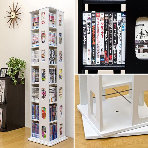 回転ラック ブルーレイ収納 マンガラック ☆ 高さ167.5cm DVDトールケース 収納ラック - aimcube画像2