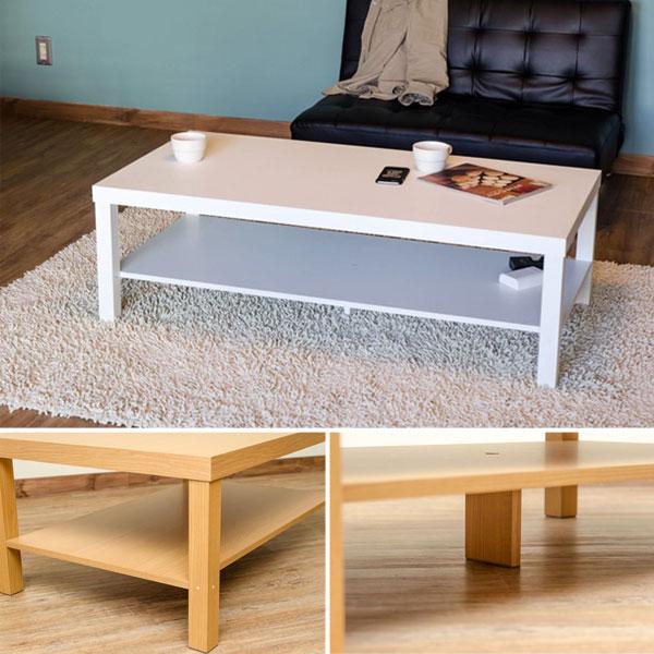 リビングテーブル 座卓 コーヒーテーブル 食卓 4色展開 収納棚付き テーブル - aimcube画像2
