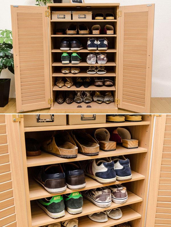 シューズラック ルーバー調 可動棚5枚 靴棚 幅60cm 玄関収納家具 上下積重ね可能 - エイムキューブ画像3