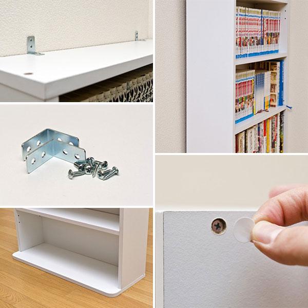 書棚 CDラック DVDラック 収納棚 転倒防止用金具付 マンガ 収納  本棚 ラック ブルーレイ - aimcube画像4