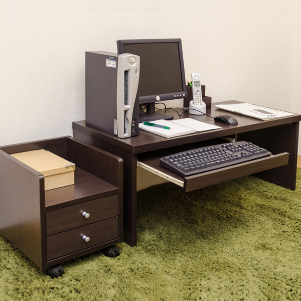 PCデスク セット コンパクトデスク スライドテーブル搭載 コンパクトデスク 机 セット - エイムキューブ画像2